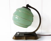 French Art Deco Vintage Bedside or Table  Lamp  with Green Glass Globe Shade