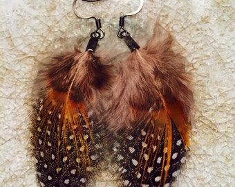Golden Speckle Guinea Feather Earring