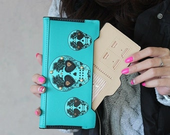 Cool Skull Purse for Ladies Cute Clutch Wallet with 18 Card Slots