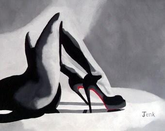 CHRISTIAN LOUBOUTIN Black Shoes Art Print, Fashion Gifts, Wall Art