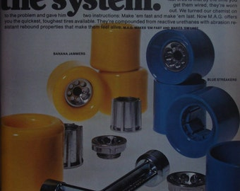 Vintage Mag by Mattel Skate Tool Skateboard Wheels Skateboarder Magazine Photo Page January 1978 NOS