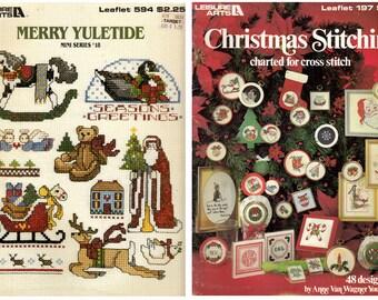 9 Cross Stitch Christmas Pattern Booklets Vintage Christmas Holiday Patterns 1981-92