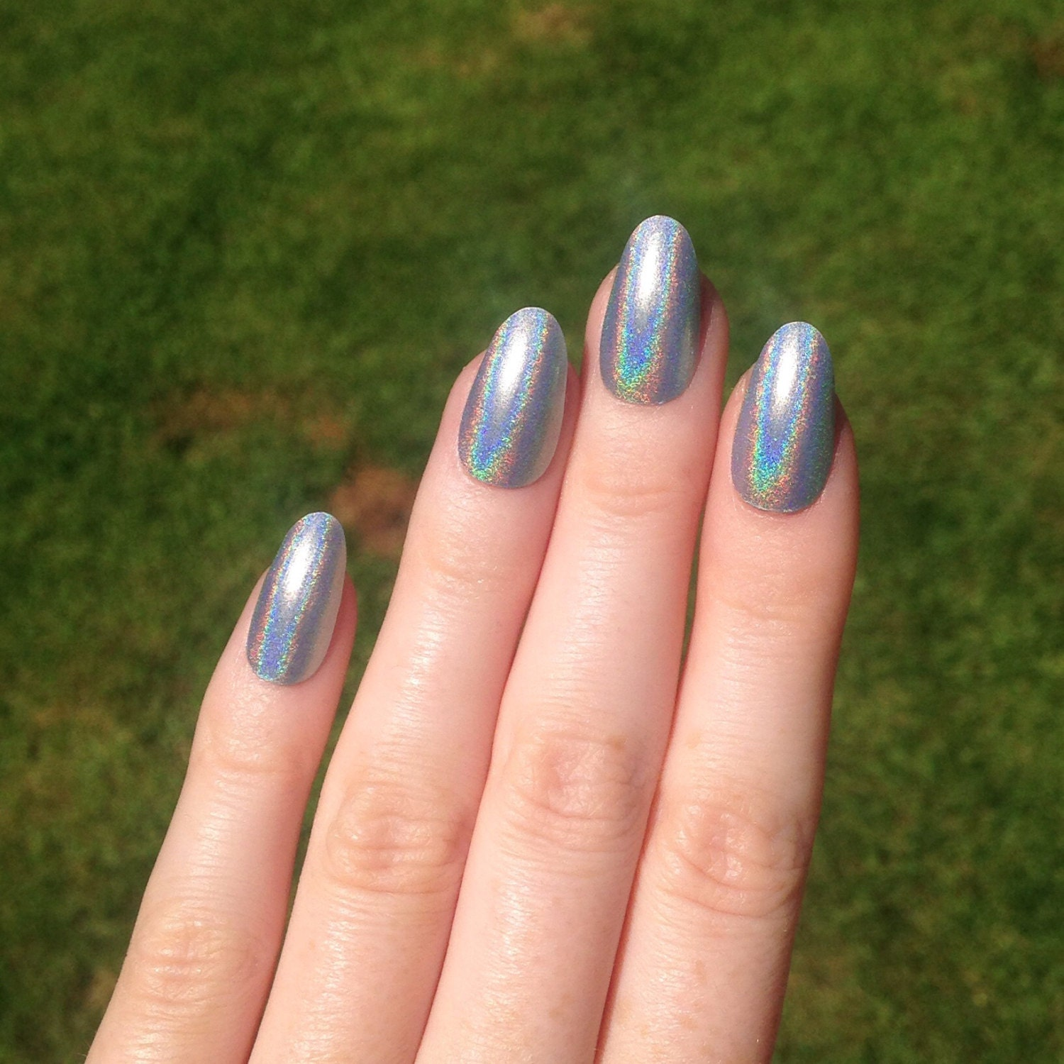 Today Live Sports Ultra Holographic Silver Oval Nails Nail Designs