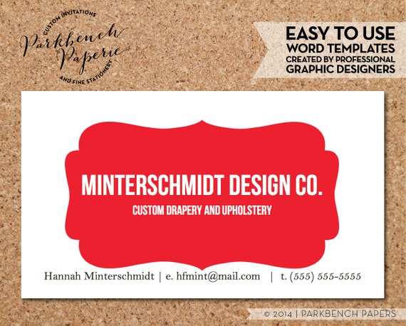 Business Card Template Red Frame DIY Editable Word