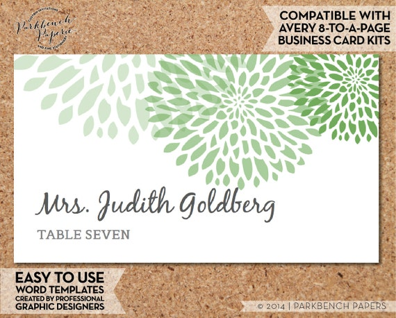 Items Similar To Place Card Template