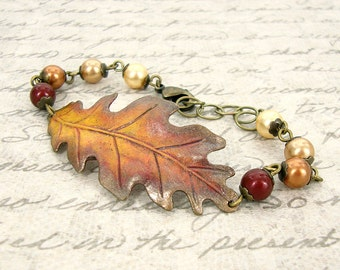 Autumn Bracelet - Hand Painted Jewelry - Oak Leaf Bracelet Patina Jewelry - Autumn Jewelry - Bronze Jewelry - Swarovski Pearl Fall Bracelet