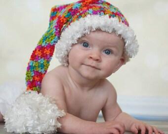 Crocheted Colorful Santa Pixie Elf Hat