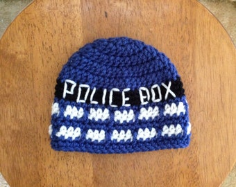 Crocheted Newborn Dr. Who Hat