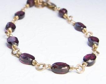 Garnet Bracelet. Gold Bracelet. Goldfill Wire Wrap Bracelet. January Birthstone