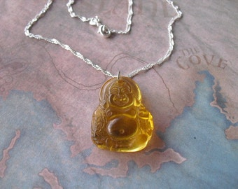Yellow quartz crystal laughting buddha amulet necklace