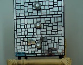 Mirror Jewelry Box Chest Mosaic Pattern with Three Drawers