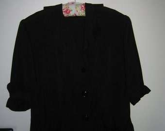 VINTAGE FRENCH JACKET black crepe fabric with pleated trim.