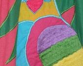 VINTAGE 70's Caftan Muumuu Mumu Dress Embroidered Parrot Hippie Chic Sz Small S