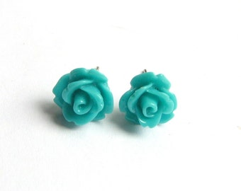 Flower Earrings, Teal Stud Earrings, Small Teal Rose, Turquoise Rose Studs, Rose Jewelry