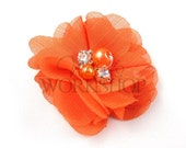 "Orange - Set of 3 Petite 2"" Chiffon Flowers with Pearl & Rhinestone Centers - PPR-018"