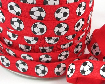 "Red Soccer Balls - 5 Yards Printed FOE - 5/8"" Fold Over Elastic - 5/8-P-155"