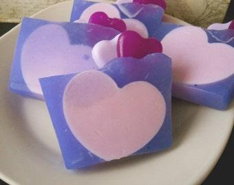 Sun-kissed Raspberry Glycerin Soap/ Heart Soap/ Homemade Soap/ Vegan Soap/ Feminine Soap
