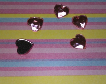 Small pink heart flatback sparkling cabochons