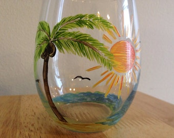 Hand painted stemless wine glasses, Palm tree design