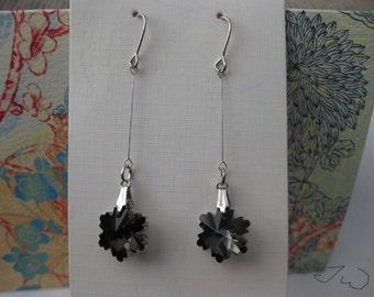 Black Crystal Bead Silver Plated Earrings
