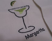 Margarita Towels Set of 2 Kitchen Bar Towels 100% Cotton Quality Embroidered - ARubyInTheRough