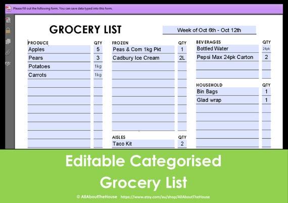 Editable Grocery List March 2017 Calendar – Editable Shopping List Template