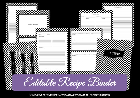 ... Try Template PDF Editable Binder Cover Spine Favorite Recipes Preppy