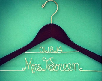 Personalized Custom two line Bridal Hanger, Wedding Hanger, Wedding dress hanger.  Bridal Hanger, Bride