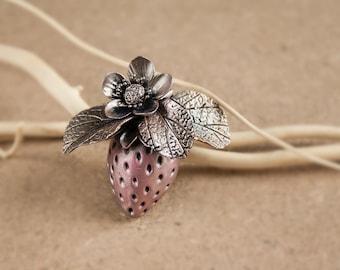polymer clay strawberry brooch, silver wax strawberry, cute trawberry brooch
