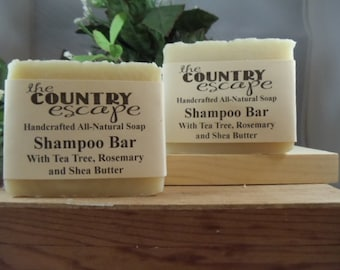 Tea Tree and Rosemary Shampoo Bar - Gentle & Moisturizing - Great Lather - Handcrafted - Organic - Vegan - Natural Soap - Paraben Free