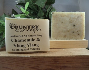 Chamomile and Ylang Ylang Olive Oil Soap -Gentle & Moisturizing - Great Lather - Handcrafted - Organic - Vegan - Natural Soap - Paraben Free