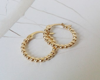 Gold filled hoops, Gold hoops earings, Dots texture hoops, Small gold hoops, Every day hoops earrings,Hoops earrings, Dots hoops