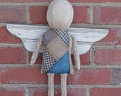 Angel Doll, Primitive Angel Doll, Primitive Doll, Angel Wings, Antique Quilt, Blue Quilt, Distressed Wood, OFG, HAFAIR