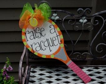Wooden Tennis Racquet Door Hanger