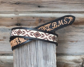 Hand Tooled Leather Beaded Belt