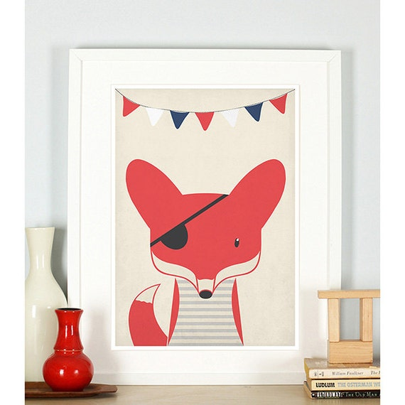 Nautical Themed Kids Room : Nautical theme, kids room decor, pirate fox, nursery wall art, animals ...