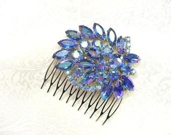 Vintage Bridal or Formal Hair Comb - silver tone - Blue Aurora Borealis RHINESTONE - something blue - vintage WEDDING - BRIDAL - bridesmaid