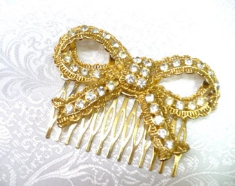 Vintage Bridal Hair Comb - goldtone - RHINESTONE - bow motif - vintage WEDDING - vintage BRIDE - bridesmaid - golden hair piece - statement