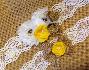 Wedding Garter, Rustic Wedding Garter, Burlap Garter, Fall Wedding Garter, Garter, Wedding Garters, sunflower garter, lace garter, bridal