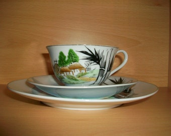 1950s Japanese Tea Cup, Saucer and Dessert Plate, Trio, Geisha Girl, Hand Painted, Made by E & O China Ware; egg shell
