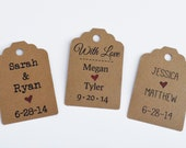 25 Wedding Favor Tags - Wedding Hang Tags -- Gift Tags - Die Cut Tags - for Favors, Gift Wrapping, Gift Bags or Scrapbooking