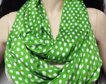 Green & White  Polka DOTS Infinity Scarf SUPER Soft Jersey Knit, Fall Fashion Womens Fashion Accessories Fall Fashion