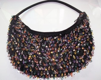 Colorful Fun Flapper Girl Style Beaded Purse Hand Bag