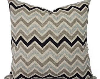 Two Chevron Throw Pillow Covers - Black and Brown Pillow Covers - Burlap Couch Pillow Cushion Cover Accent Pillow