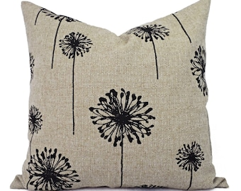 Two Pillow Covers - Black and Cream Dandelion Pillows - Dandelion Pillow Cover - Black Pillow Cover - Throw Pillow Cushion Cover