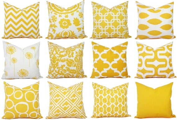 Yellow Couch Pillow Covers Decorative Pillows Yellow And