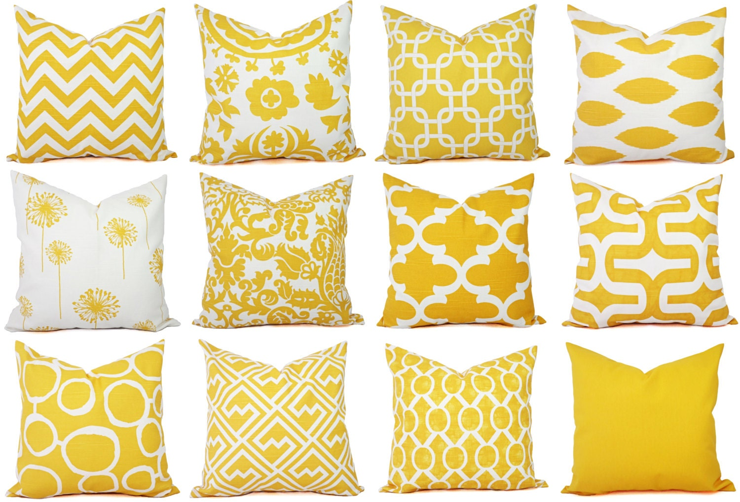 Yellow Decorative Pillows For Sofa : Yellow Couch Pillow Covers Decorative Pillows Yellow and