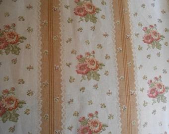 Vintage Carleton V 'SAVANNAH'  Cottage Floral Stripe Linen  Fabric   So pretty!