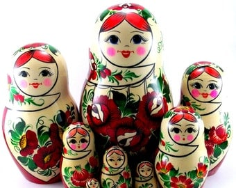 Nesting doll 9 psc Sudarushka. Russian matryoshka. The original birthday gift.