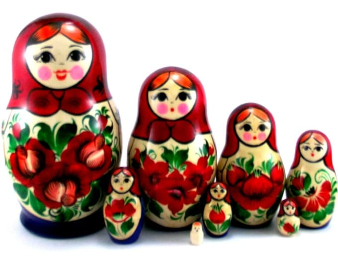 Nesting Dolls 8 pcs Matryoshka Russian Babushka Stacking doll set Suvenirnaya Wooden Handmade birthday christmas gift